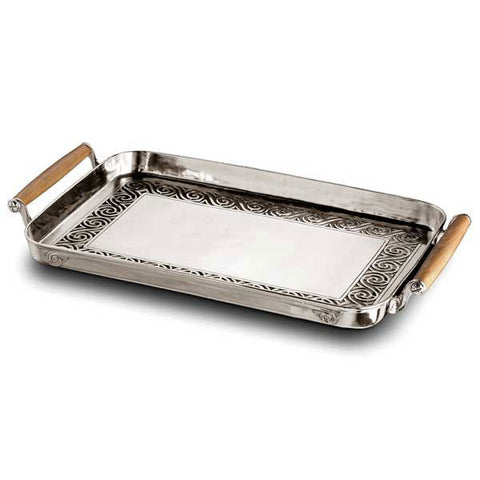 Jonico Rectangular Tray with Handles - 53 cm x 35 cm - Handcrafted in Italy - Pewter & Cherry Wood