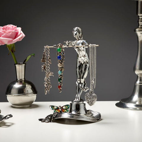 Art Nouveau-Style Donna Jewellery Holder (girl with birds) - 21 cm Height - Handcrafted in Italy - Pewter/Britannia Metal