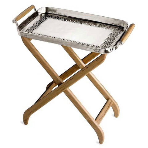 Jonico Rectangular Tray with Handles (and Stand) - 53 cm x 35 cm - Handcrafted in Italy - Pewter & Cherry Wood