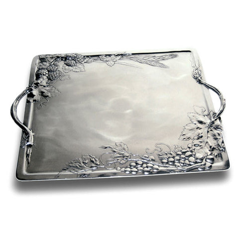 Art Nouveau-Style Vino Tray - 38 cm x 27 cm - Handcrafted in Italy - Pewter/Britannia Metal