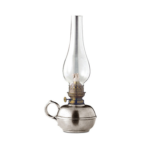 Luce Paraffin Lamp - 30 cm Height - Handcrafted in Italy - Pewter, Brass & Glass
