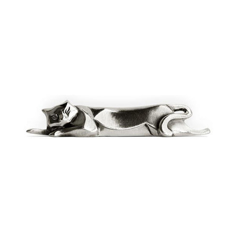 Art Nouveau-Style Gatto Resting Cat Knife Rest - 10.5 cm Length - Handcrafted in Italy - Pewter