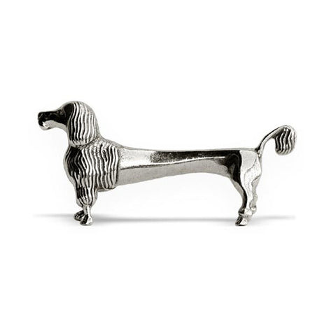 Art Nouveau-Style Cane Poodle (tail) Knife Rest - 8 cm Length - Handcrafted in Italy - Pewter