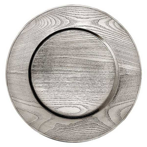 Legno Charger - 32 cm Diameter - Handcrafted in Italy - Pewter