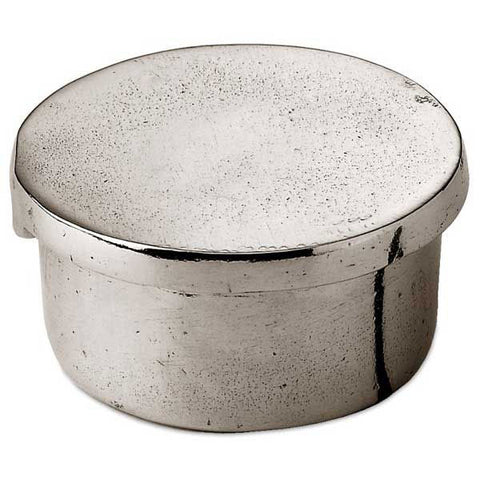 Libio Box/Tea Light Holder - Plain Lid - 5 cm Diameter - Handcrafted in Italy - Pewter