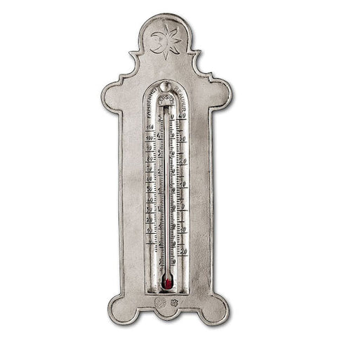 Linneo 3 Scale Thermometer - 25 cm Height - Handcrafted in Italy - Pewter & Glass