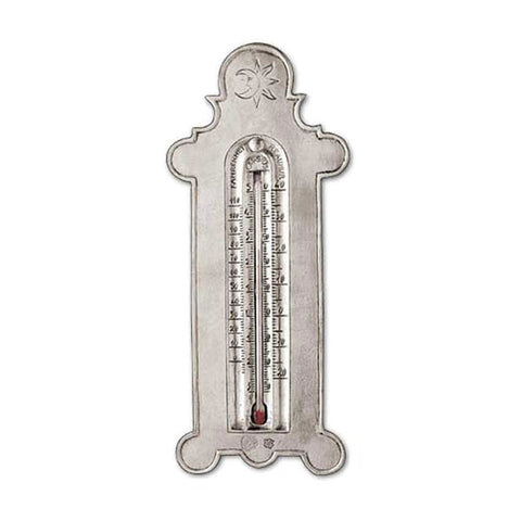 Linneo 3 Scale Thermometer - 19 cm Height - Handcrafted in Italy - Pewter & Glass