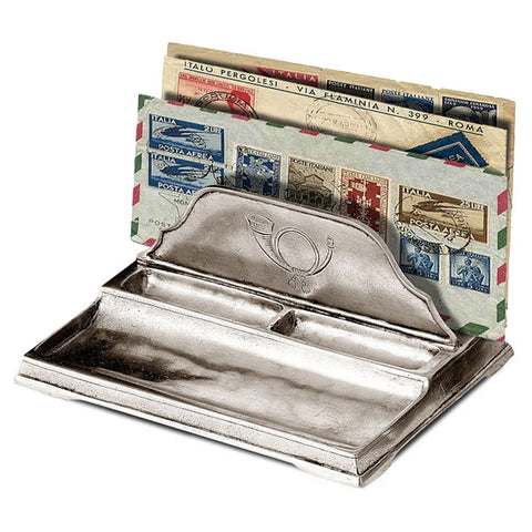 Littera Letter Holder - 18 cm x 12 cm - Handcrafted in Italy - Pewter