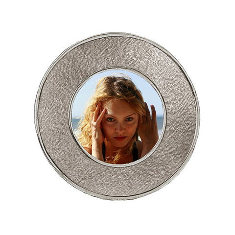 Lombardia II Round Frame - 11 cm Diameter - Handcrafted in Italy - Pewter
