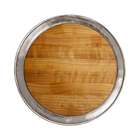 Lombardia Cheese Tray -  Diameter 48.5 cm - Handcrafted in Italy - Pewter & Cherry Wood