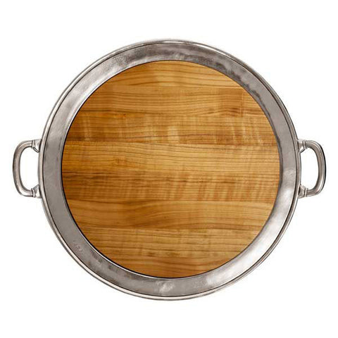 Lombardia Cheese Tray (with handles) -  Diameter 48.5 cm - Handcrafted in Italy - Pewter & Cherry Wood