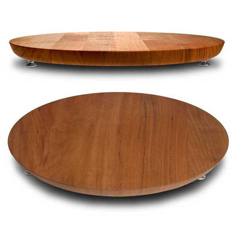 Lombardia Footed Cutting Board - Diameter 39.5 cm - Handcrafted in Italy - Pewter & Cherry Wood