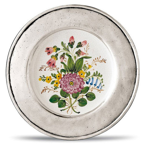 Lombardia Decorative Plate - 23 cm Diameter -  Handcrafted in Italy - Pewter & Ceramic