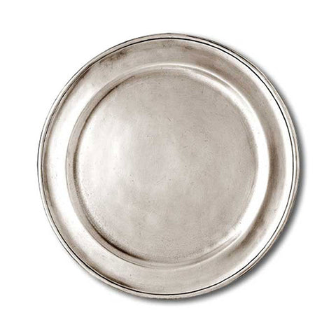 Lombardia Plate (Set of 2) - 23 cm Diameter - Handcrafted in Italy - Pewter