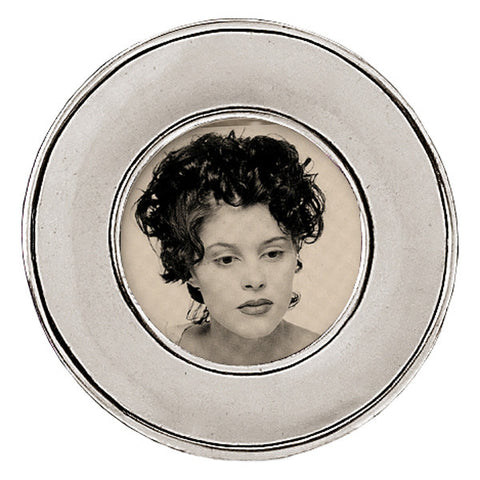 Lombardia Round Frame - 11 cm Diameter - Handcrafted in Italy - Pewter