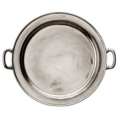 Lombardia Round Platter (with handles) - 48.5 cm Diameter - Handcrafted in Italy - Pewter