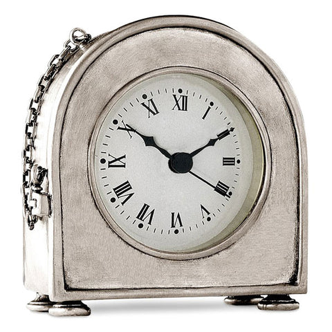 Lombardia Table Clock - 12.5 cm Height - Handcrafted in Italy - Pewter