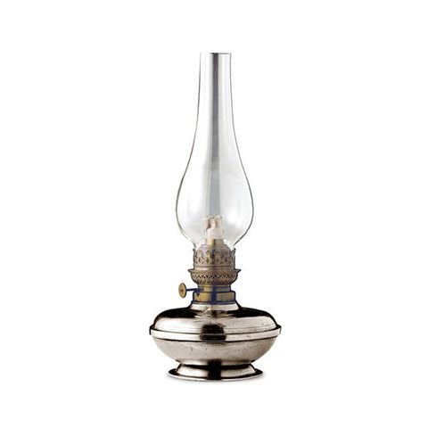 Lombardia Paraffin Lamp - 30 cm Height - Handcrafted in Italy - Pewter, Brass & Glass