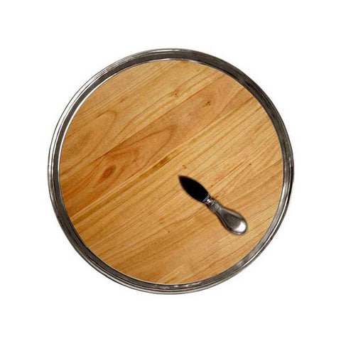 Loreto Cheese Tray -  Diameter 37.5 cm - Handcrafted in Italy - Pewter & Cherry Wood
