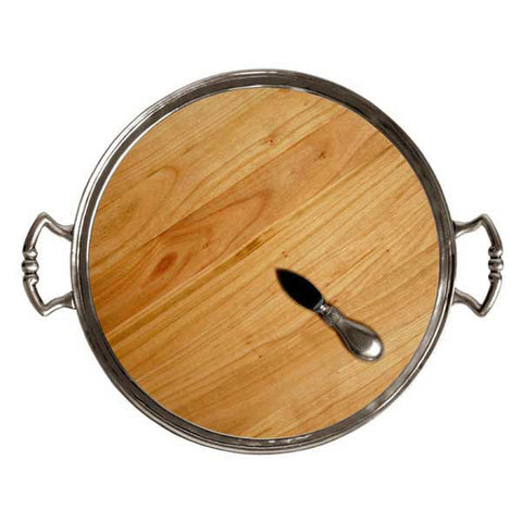 Loreto Cheese Tray (with handles) -  Diameter 37.5 cm - Handcrafted in Italy - Pewter & Cherry Wood