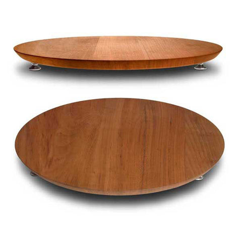 Loreto Footed Cutting Board - Diameter 34 cm - Handcrafted in Italy - Pewter & Cherry Wood