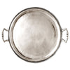 Loreto Round Tray with Handles - 37.5 cm Diameter - Handcrafted in Italy - Pewter