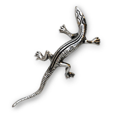 Art Nouveau-Style Lucertola Lizard - 8 cm - Handcrafted in Italy - Pewter/Britannia Metal