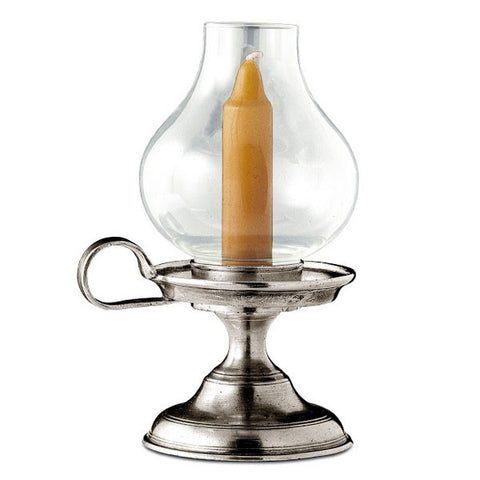 Lucio Garden Candle - 19 cm Height - Handcrafted in Italy - Pewter & Glass