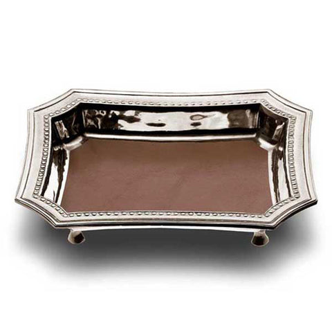 Lucrezio Footed Pocket Tray (Leather Inlay) - 21.5 cm x 17 cm - Handcrafted in Italy - Pewter & Leather