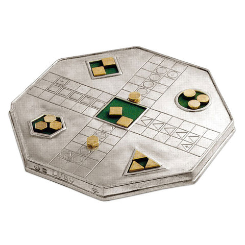 Ludo 'Ludo' Game - 24 cm x 24 cm - Handcrafted in Italy - Pewter