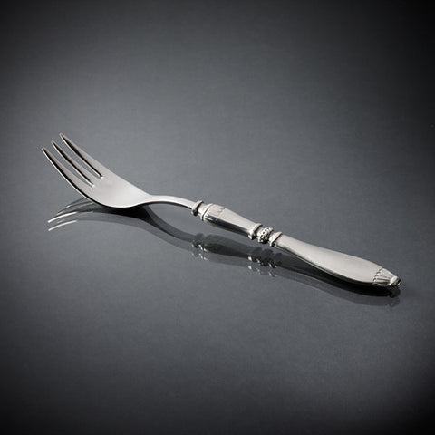 Lutezia Fish Fork Set (Set of 6) - 20 cm Length - Handcrafted in Italy - Pewter & Stainless Steel