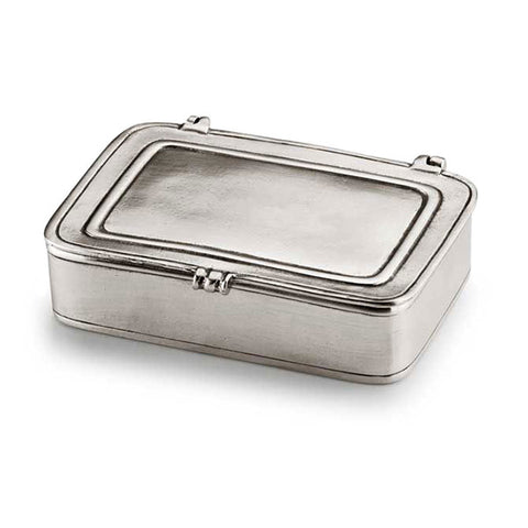 Laurus Lidded Box - 9.5 cm x 6.5 cm - Handcrafted in Italy - Pewter