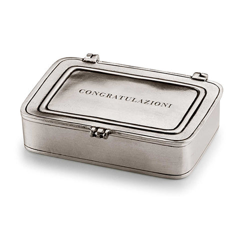 Laurus Congratulazioni Lidded Box - 9.5 cm x 6.5 cm - Handcrafted in Italy - Pewter