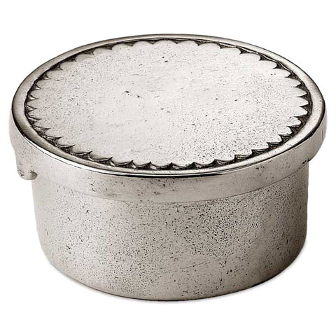 Libio Box/Tea Light Holder - Engraved Lid - 5 cm Diameter - Handcrafted in Italy - Pewter