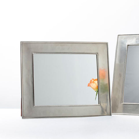 Lombardia Rectangular Mirror - 28.5 cm x 33.5 cm - Handcrafted in Italy - Pewter & Glass