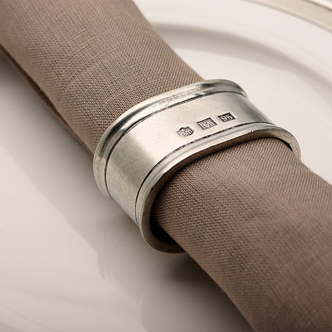 Lombardia Oval Napkin Ring (Set of 2) - 5.5 cm x 4 cm - Handcrafted in Italy - Pewter