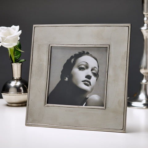 Lombardia Square Frame - 22 cm x 22 cm - Handcrafted in Italy - Pewter