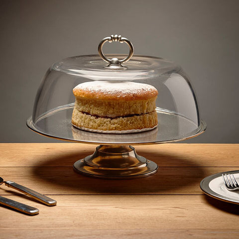 Loreto Cake & Cheese Stand and 30 cm Cloche - 32.5 cm Diameter - Handcrafted in Italy - Pewter & Glass