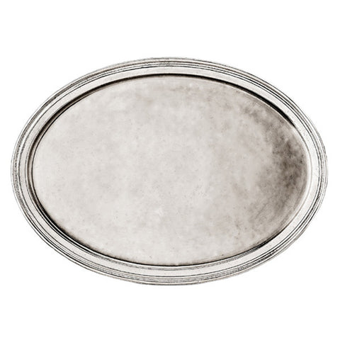 Loreto Oval Tray - 52 cm x 36.5 cm - Handcrafted in Italy - Pewter