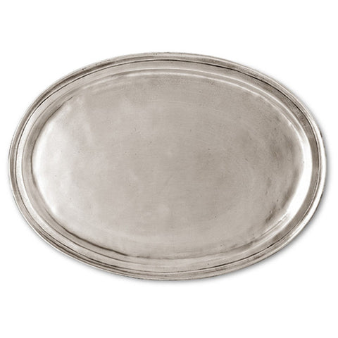 Loreto Oval Tray - 36.5 cm x 26 cm  - Handcrafted in Italy - Pewter
