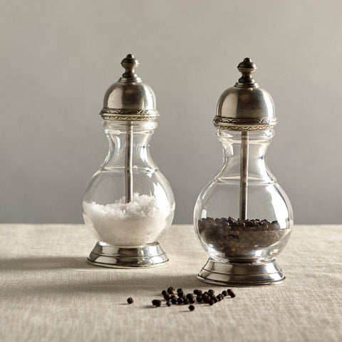 Lucca Pepper Mill - 17 cm Height - Handcrafted in Italy - Pewter & Glass