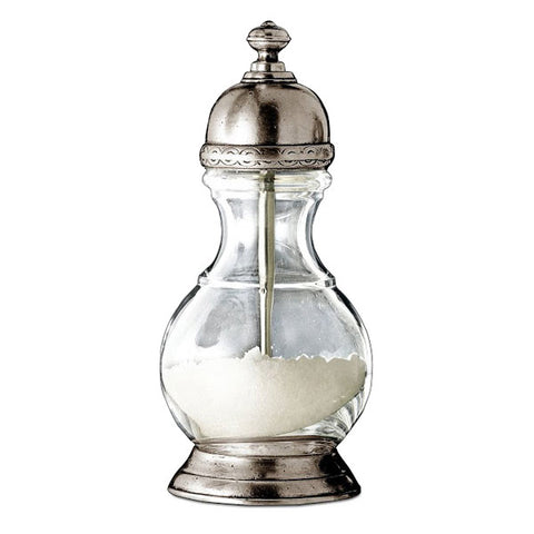 Lucca Salt Mill - 17 cm Height - Handcrafted in Italy - Pewter & Glass