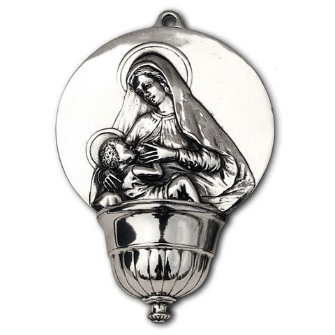 Madonna Holy Water Stoup - Rounded - 19 cm - Handcrafted in Italy - Pewter