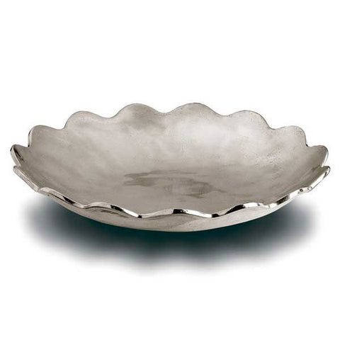 Margherita Round Bowl - 26 cm Diameter - Handcrafted in Italy - Pewter
