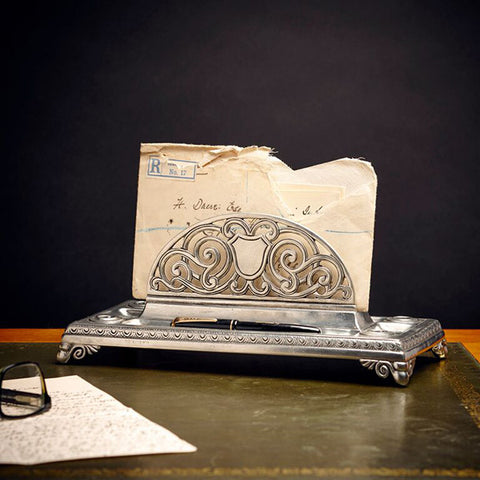 Melisso Letter Holder - 27 cm x 13.5 cm - Handcrafted in Italy - Pewter