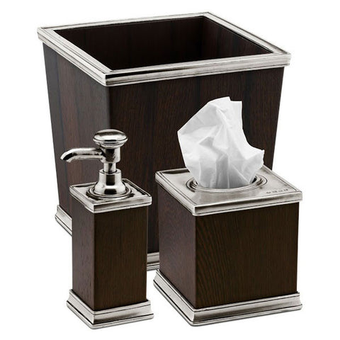 Milano Tissue Box Cover - 14 cm x 14 cm x 14.5 cm Height - Handcrafted in Italy - Pewter & Wood