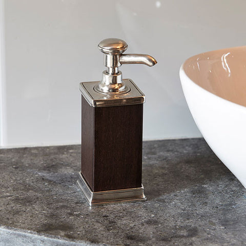 Milano Moisturiser Dispenser - 18.5 cm Height - Handcrafted in Italy - Pewter & Wood