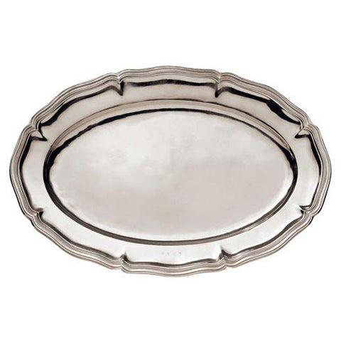 Modica Oval Fluted Tray - 57 cm x 38 cm - Handcrafted in Italy - Pewter