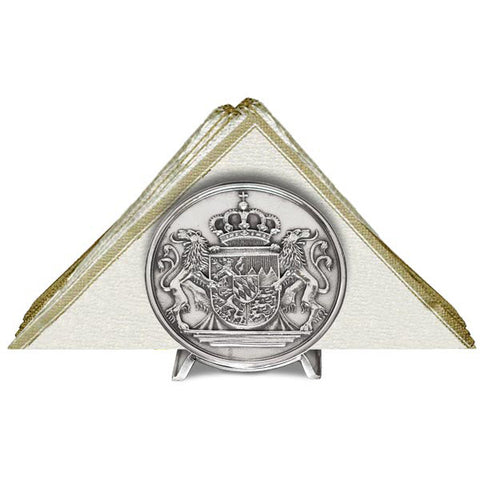 Art Nouveau-Style Bavarian Coat of Arms Napkin Holder - Handcrafted in Italy - Pewter/Britannia Metal