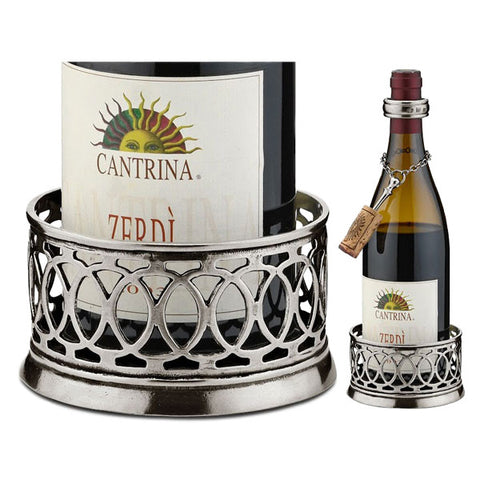 Napoli Pewter Wine Bottle Coaster - Handcrafted in Italy - Pewter